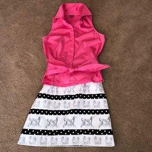 Muse sleeveless pink shirt with sash